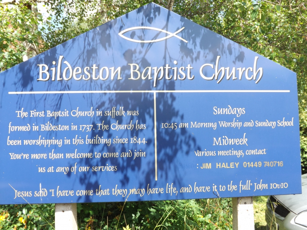 PHoto of Bildeston Baptist Church sign