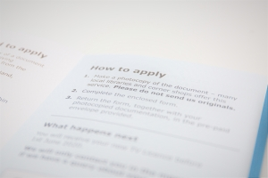 Photo of application form