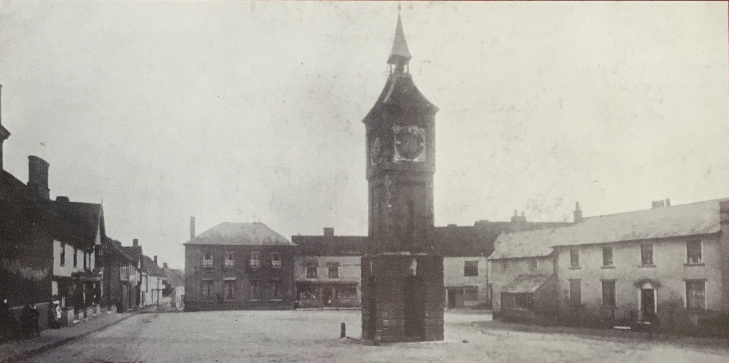 Image of the view of Bildeston Market Place about 1900 looking south.