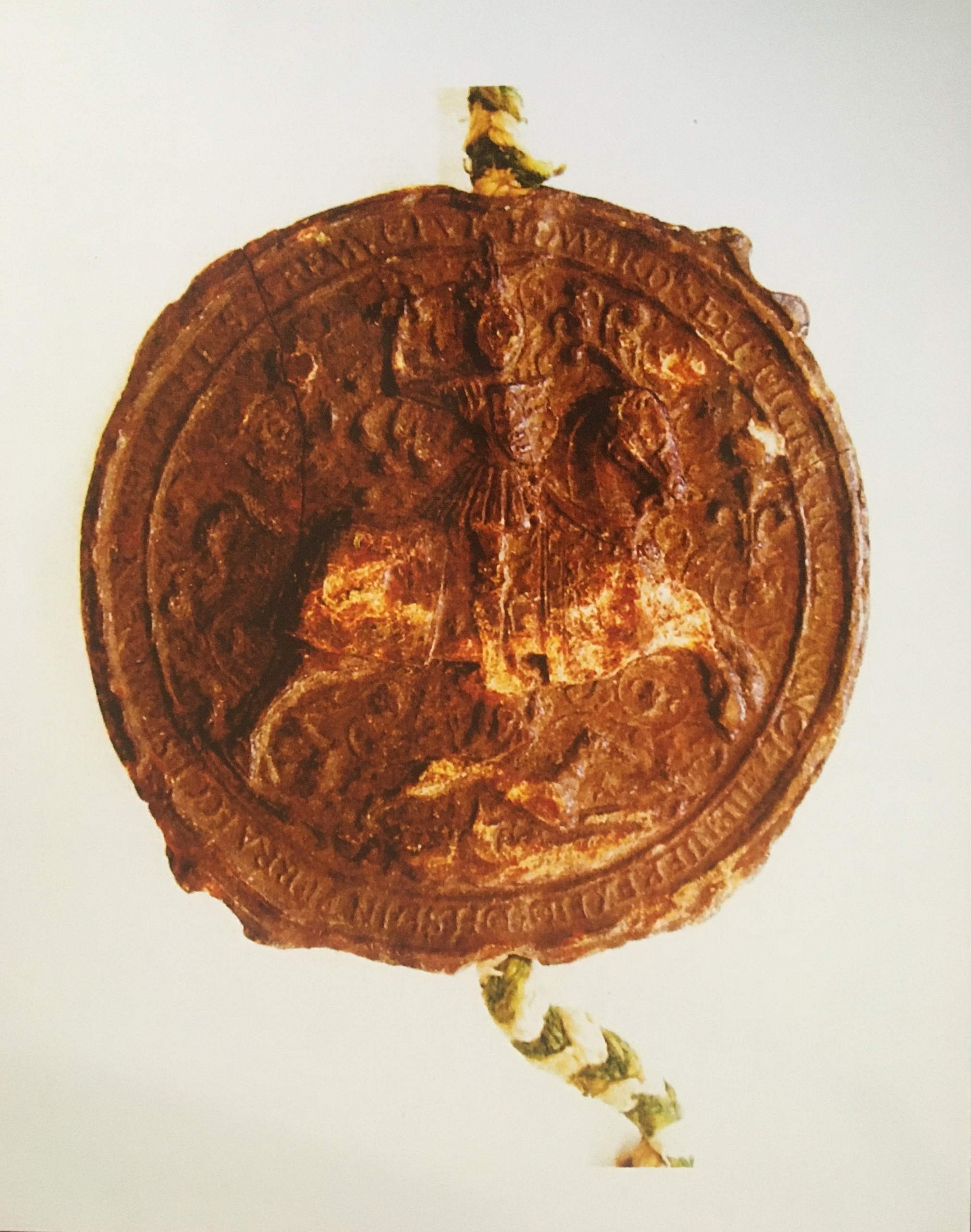 Image of Obverse of King Edward VI's seal attached to letters patent of 1548, which confirms rights to the Wednesday market and Michaelmas fair