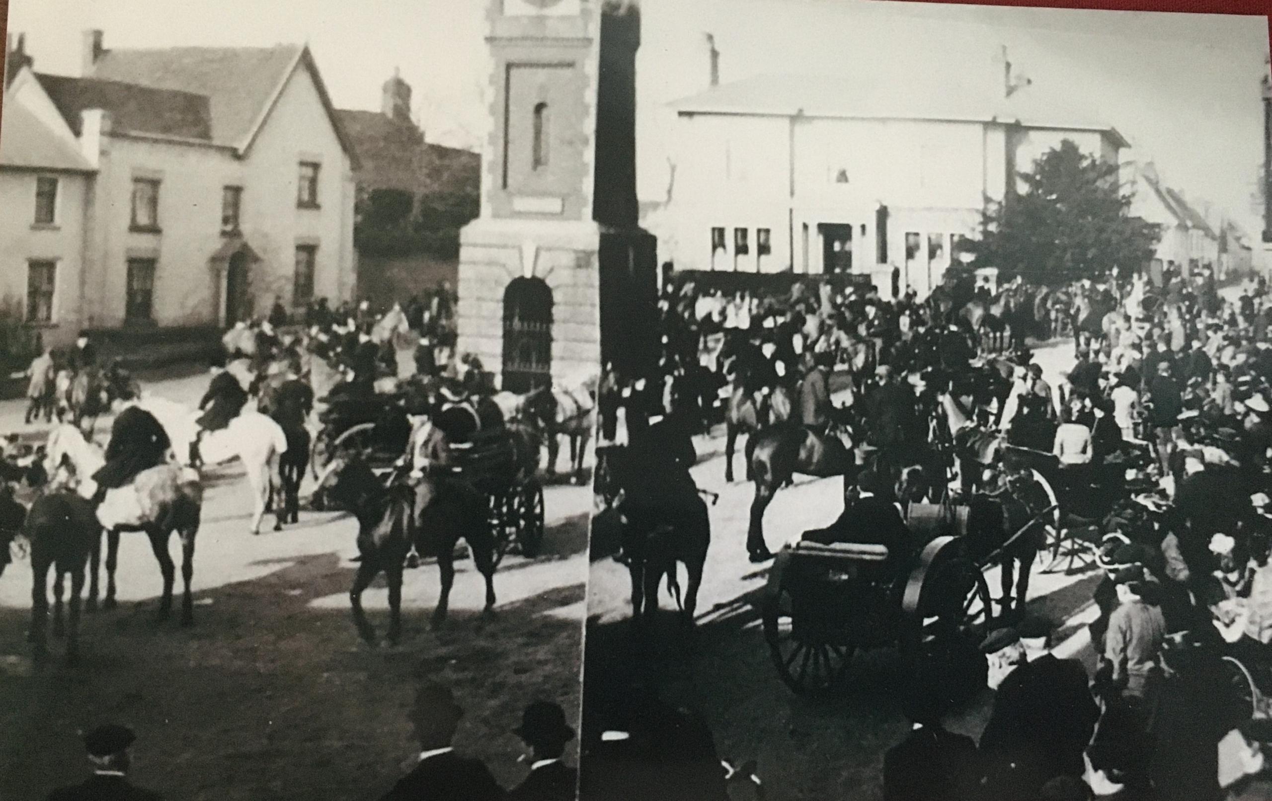 Photo of the Suffolk Hunt in Bildeston Market Place at beginning of 20th century