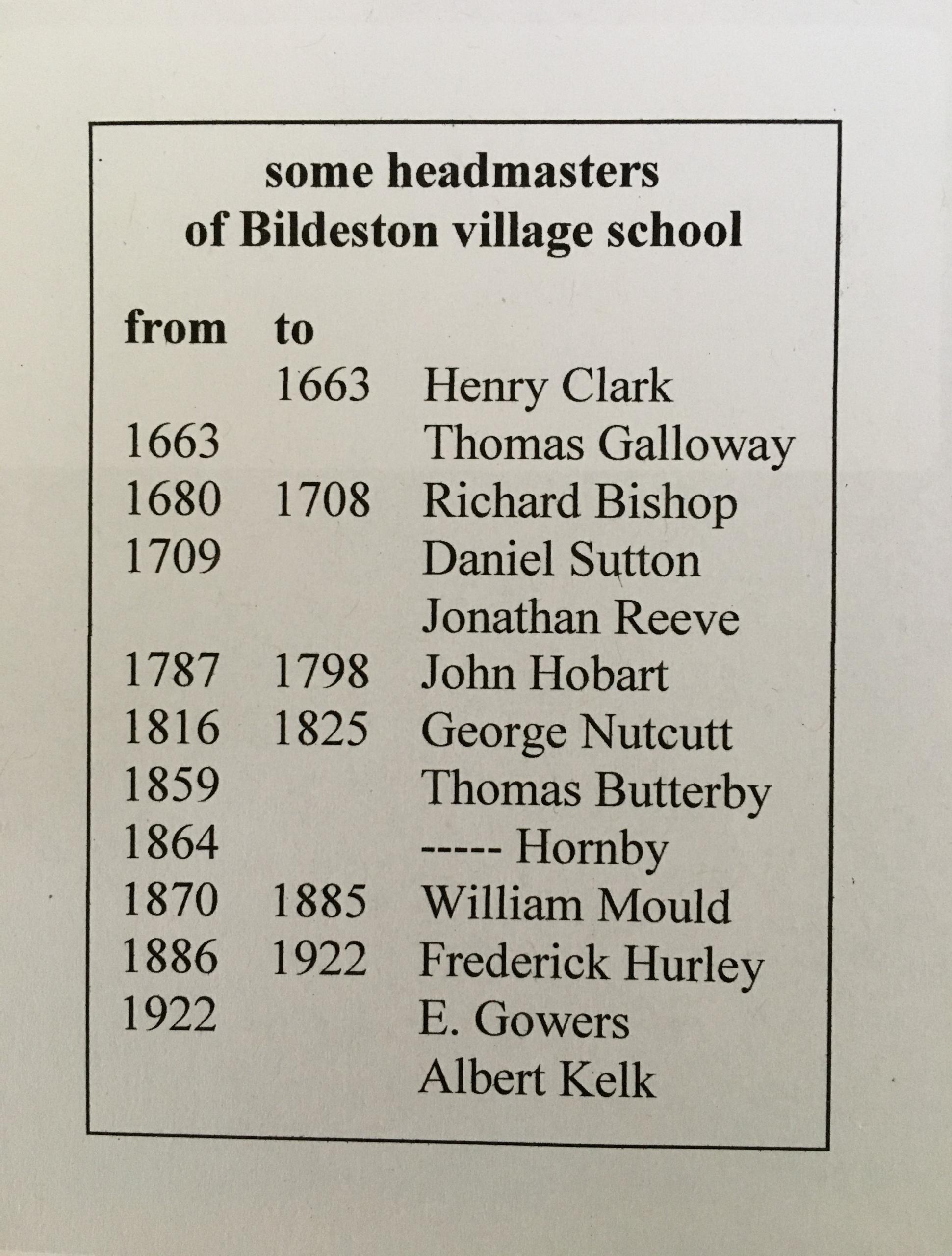 Some headmasters of Bildeston village school