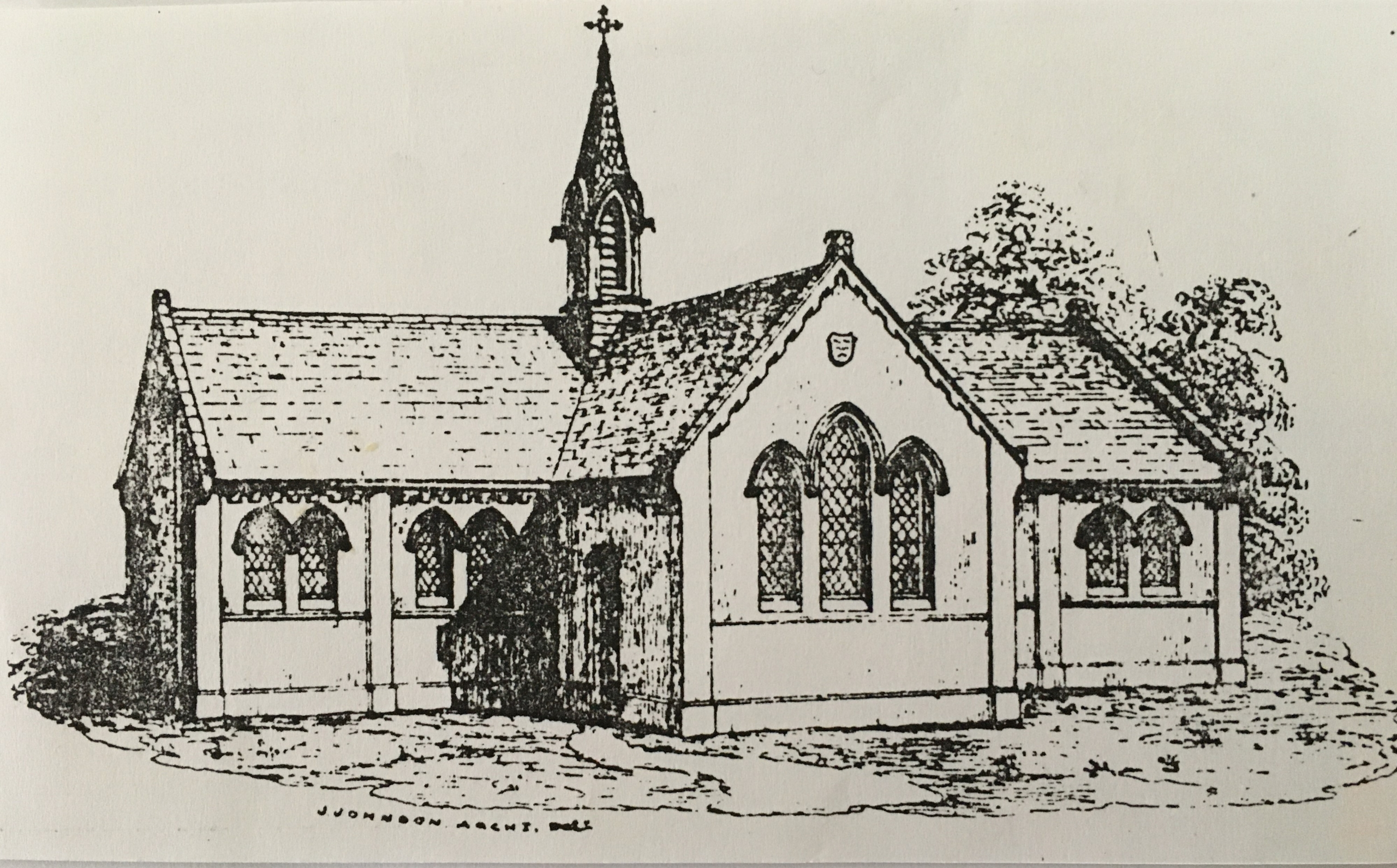 Architect John Johnson's drawing of 1852 for the National School erected in 1853.