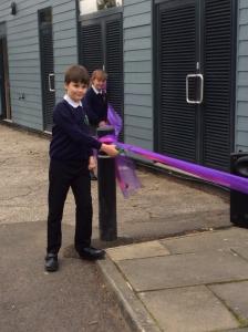 Bildeston school children cutting ribbon to officially open the refurbished school