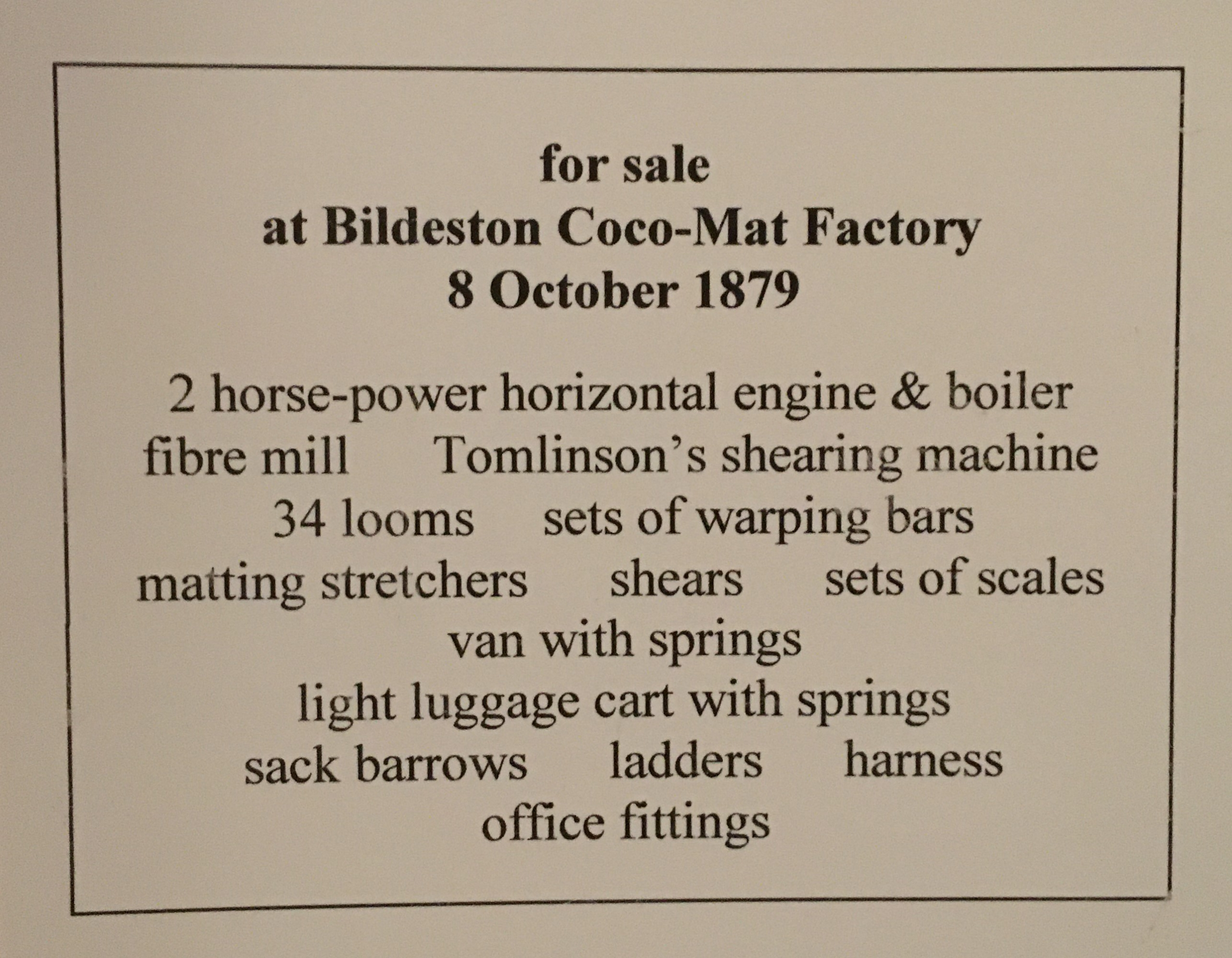 Matting factory sale notice detailing 2 horsepower horizontal engine & boiler, 34 looms and more